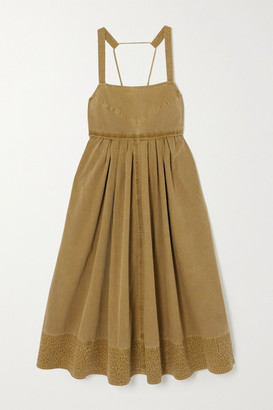 Proenza Schouler White Label Tie-detailed Pleated Washed Cotton-canvas Midi Dress - Army green