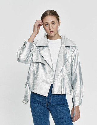 Stelen Women's Iyla Vegan Leather Metallic Jacket in Platinum, Size Medium | 100% Cotton