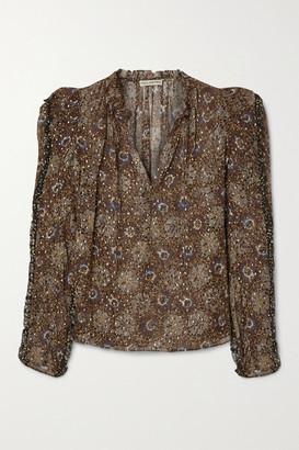 Ulla Johnson Marilla Floral-print Fil Coupe Silk-blend Chiffon Blouse - Brown