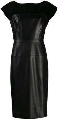 Gucci Pre-Owned Leather And Silk Fitted Dress