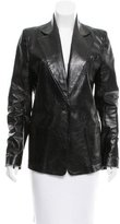 Ann Demeulemeester Leather Single-Button Blazer