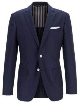 HUGO BOSS Slim Fit Jacket In Virgin Wool With Pocket Square - Dark Blue
