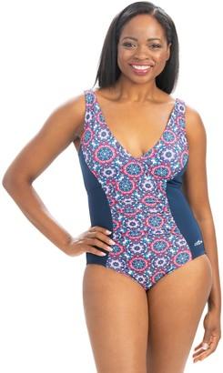 Dolfin Aquashape Mosaic Print Moderate V-Neck 1-Piece Swimsuit
