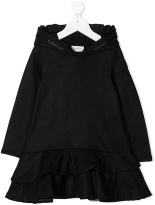 Moncler Enfant Hooded Ruffle Detail Dress