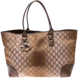 Gucci Beige/Bronze GG Canvas and Leather Medium Charms Embellished Heart Bit Tote