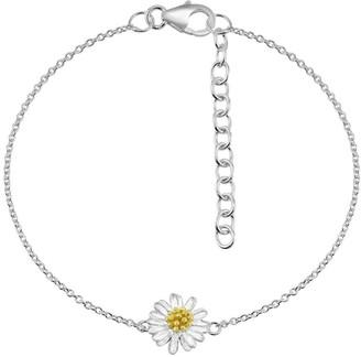 Aeravida Handmade Alluring Chamomile Flower .925 Sterling Silver Charm Bracelet