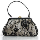 Franchi Beige Black Satin Lace Beaded Detailed Pouch Evening Handbag