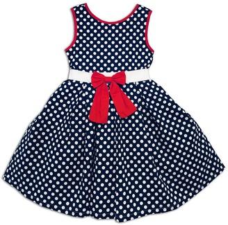 Joe Ella Maggie Polka Dot Bow Dress (Little Girls & Big Girls)