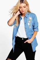 boohoo Rosie Embroidered Denim Shirt mid blue