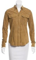 Ralph Lauren Suede Leather Button-Up Top