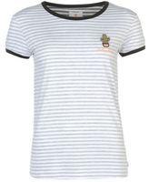 Soul Cal SoulCal Womens Stripe T Shirt Print Summer Casual Short Sleeve Crew Neck Tee