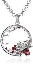 Kenneth Jay Lane Fine Jewelry Sterling Silver, White and Pink Topaz and Garnet Beetle Pendant Necklace