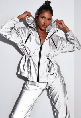 Missguided Silver Co Ord Reflective Elasticated Waist Jacket