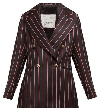 Giuliva Heritage Collection The Stella Double-breasted Striped Wool Blazer - Black Multi