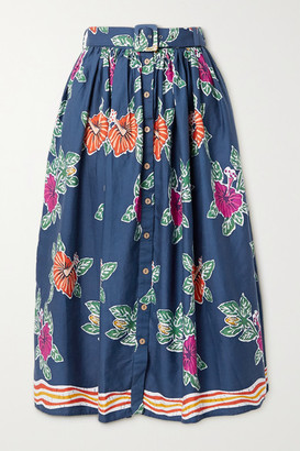 Miguelina Elani Belted Floral-print Cotton Midi Skirt - Blue