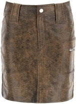 Thumbnail for your product : Ganni MINI SKIRT IN VINTAGE LEATHER 36 Brown Leather