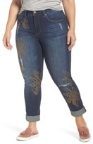Melissa McCarthy Plus Size Women's Studded Roll Cuff Skinny Jeans