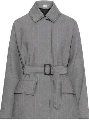 By Malene Birger Rawil Belted Striped Cotton-blend Twill Jacket