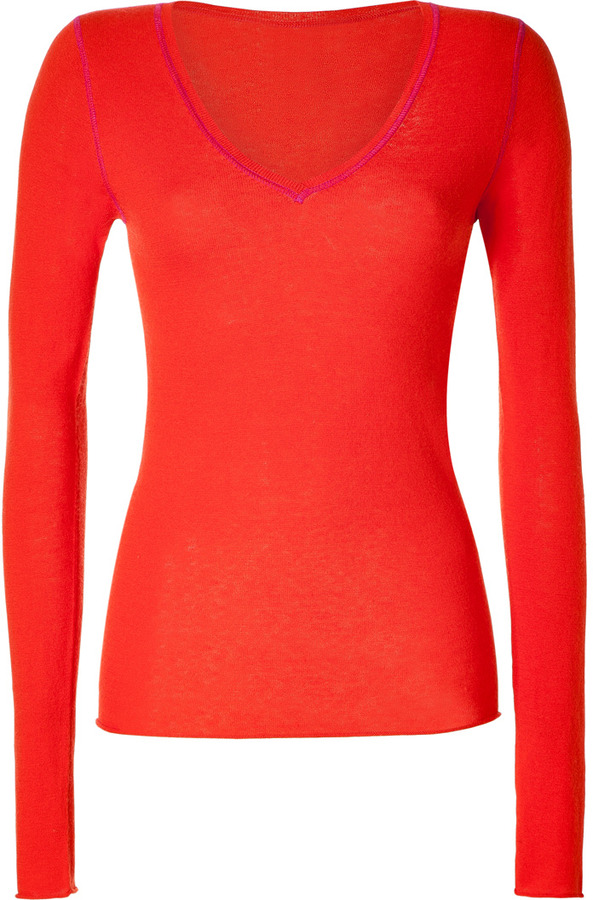 Dear Cashmere Red/Purple Cotton-Cashmere V-Neck Pullover