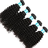 Vinsteen 5 Pieces 500g Tangle-Free Kinky Curly Natural Color Human Hair Weaves Brazilian Texture Unprocessed Human Hair Extensions Hair Wefts (5pcs 28 inch)