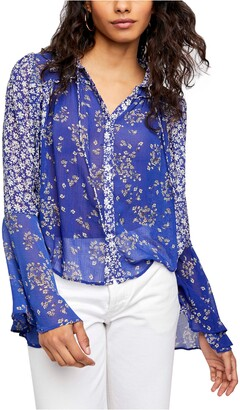 Free People Serena Print Button-Up Blouse