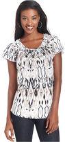 Style&Co. Petite Top, Cap-Sleeve Printed Basketweave Collar