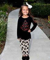 Beary Basics Black Christmas Tree Top & Ornament Leggings - Toddler & Girls