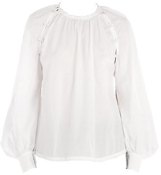 No.21 Button Balloon-Sleeve Blouse