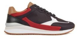 HUGO BOSS Running Inspired Trainers In Leather With Monogram Panels - Black