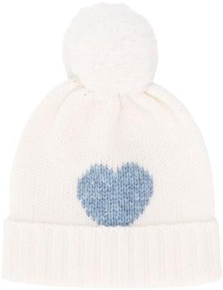 La Stupenderia heart pattern pompom hat
