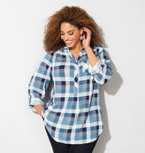 Avenue Blue Plaid Popover Shirt