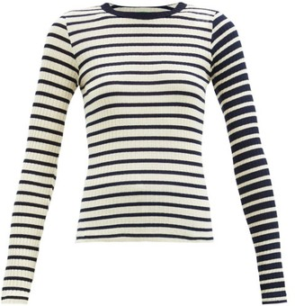 La Fetiche - Striped Cotton-jersey Top - Navy Multi