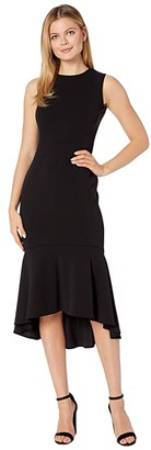Calvin Klein Embellished Neck High-Low Dress (Black) Women's Dress