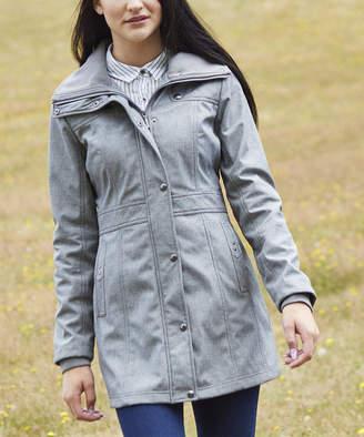 Weatherproof Women's Non-Denim Casual Jackets MELANGE - Melange Gray Hooded Softshell Walker Jacket - Women & Plus