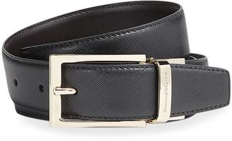 Ermenegildo Zegna Men's Saffiano Leather Belt