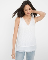 White House Black Market Textured Layered Tank
