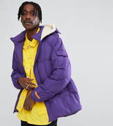 The New County Oversized Puffer Jacket In Purple