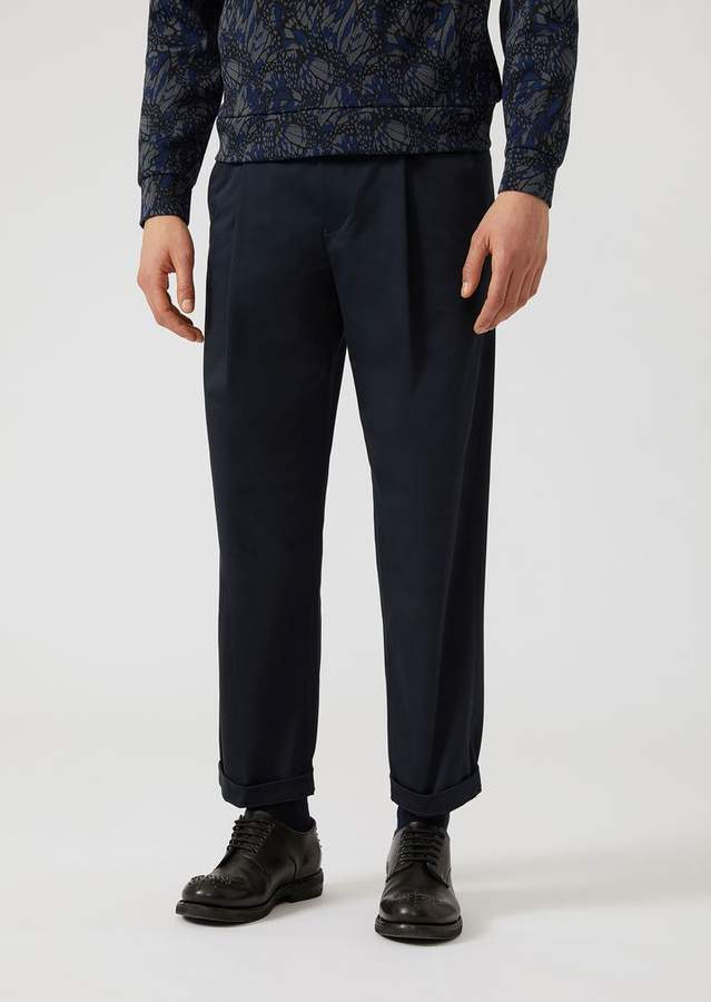 Emporio Armani Stretch Cotton Trousers With Slight Front Pleats