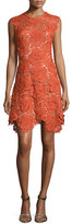 Catherine Deane Cap-Sleeve Lace Fit & Flare Dress