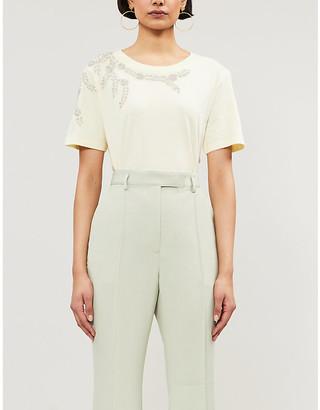 Sandro Rhinestone-embellished cotton T-shirt