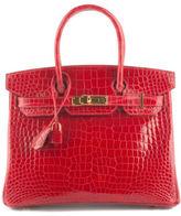 Hermes NEW Braise Crocodile Porosus Gold Tone 30cm Birkin Tote Handbag IN BOX