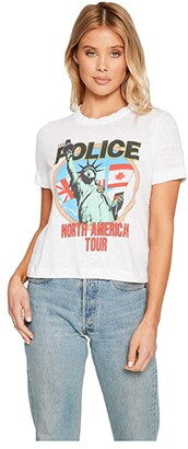 Chaser The Police - North America 1983 Linen Jersey Easy Tee (White) Women's Clothing