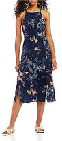 Roxy Sparkle Bright Floral Printed Lace-Up Back Midi Dress