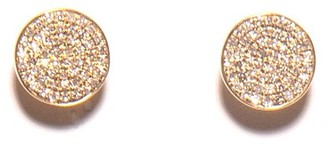 C'est Nuit Pave Diamond Disc Earrings in Yellow Gold