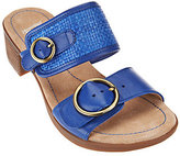 Dansko As Is Leather Double Strap Block Heel Slide Sandals - Lenny