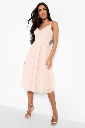 boohoo Chiffon Tie Back Midi Skater Bridesmaid Dress