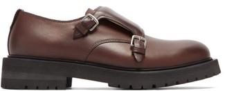 Bottega Veneta Chunky-sole Monk-strap Leather Shoes - Mens - Brown