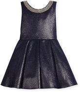 Zoë Ltd Sleeveless Pleated Metallic Ponte Dress, Twilight Navy, Size 2-6