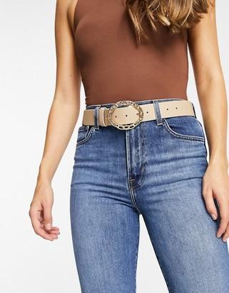 ASOS DESIGN mixed chain detail buckle waist and hip jean belt in beige