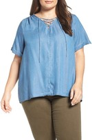 Lucky Brand Plus Size Women's Lace-Up Chambray Top